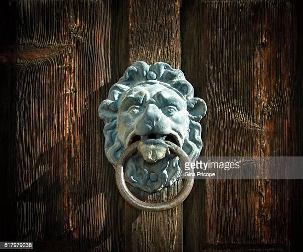 bronze knocker close up. - door knocker stock photos and pictures