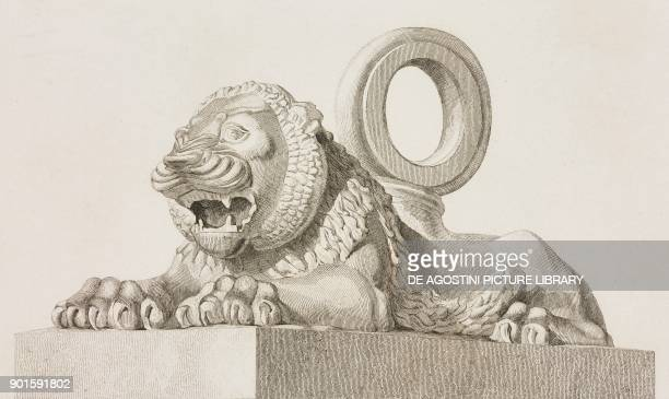 Bronze lion from Nineveh Mesopotamia Iraq at the Louvre Museum in Paris engraving by Lemaitre from Chaldee Assyrie Medie Babylonie Mesopotamie...