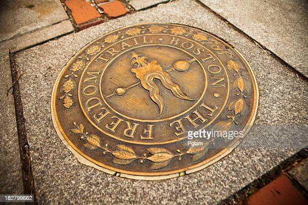 bronze marker on the freedom trail - boston stock pictures, royalty-free photos & images