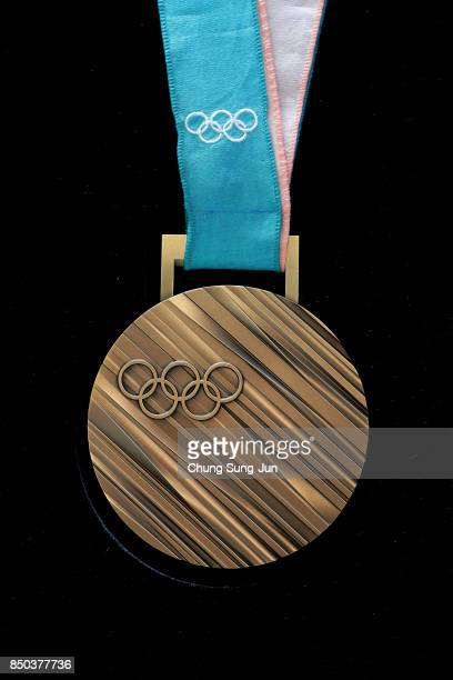 Bronze medal on display at PyeongChang 2018 Olympic medal unveiling ceremony at the Seoul Dongdaemun Design Plaza on September 21 2017 in Seoul South...
