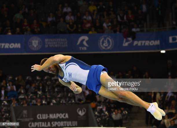 Bronze medal winner Alexander Shatilov of Israel performs during men floor apparatus final for the European Artistic Gymnastics Championship in Cluj...