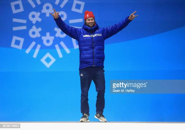 Bronze medal winner Billy Morgan of Great Britain celebrates during the medal ceremony for Snowboard Men's Big Air on day fifteen of the PyeongChang...