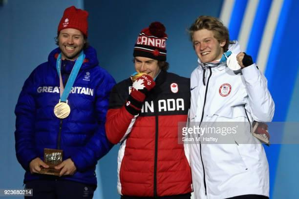 Bronze medal winner Billy Morgan of Great Britain gold medal winner Sebastien Toutant of Canada and Silver medal winner Kyle Mack of the United...