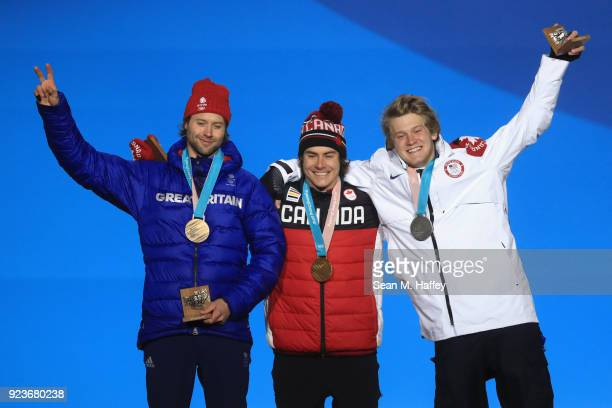 Bronze medal winner Billy Morgan of Great Britain gold medal winner Sebastien Toutant of Canada and Silver medal winner Kyle Mack of the United...