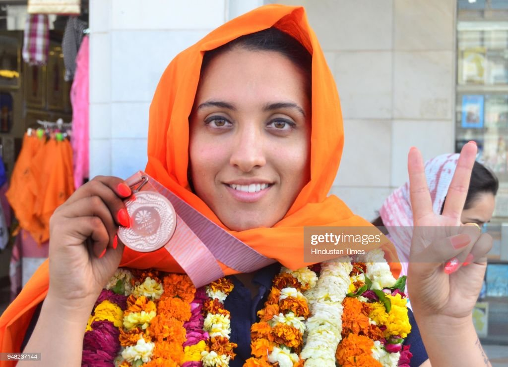 Bronze medal winner Discus Thrower Navjeet Kaur Dhillon on April 18 2018 in Amritsar India