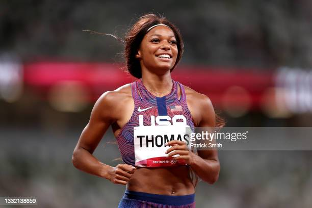 Bronze medal winner Gabrielle Thomas celebrates after the Women's 200m Final on day eleven of the Tokyo 2020 Olympic Games at Olympic Stadium on...