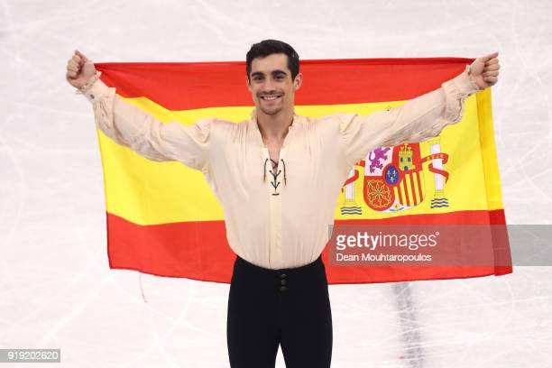 Bronze medal winner Javier Fernandez of Spain celebrates during the victory ceremony for the Men's Single Free Program on day eight of the...