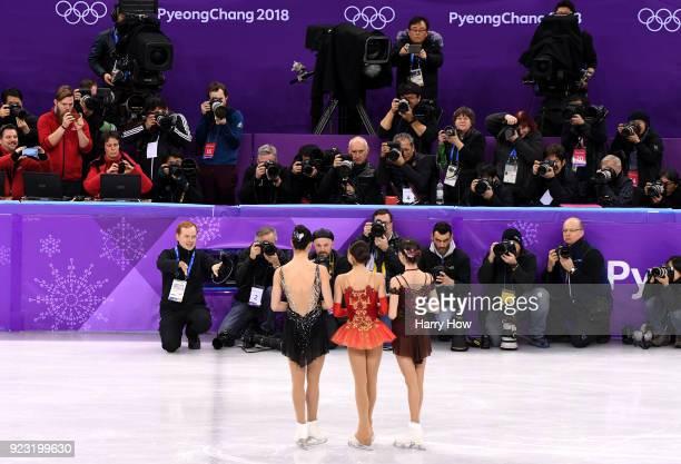 Bronze medal winner Kaetlyn Osmond of Canada gold medal winner Alina Zagitova of Olympic Athlete from Russia and silver medal winner Evgenia...