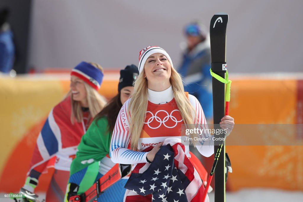 Bronze medal winner Lindsey Vonn #7 at the presentation during the Alpine Skiing - Ladies' Downhill race at Jeongseon Alpine Centre on February 21, 2018 in PyeongChang, South Korea.