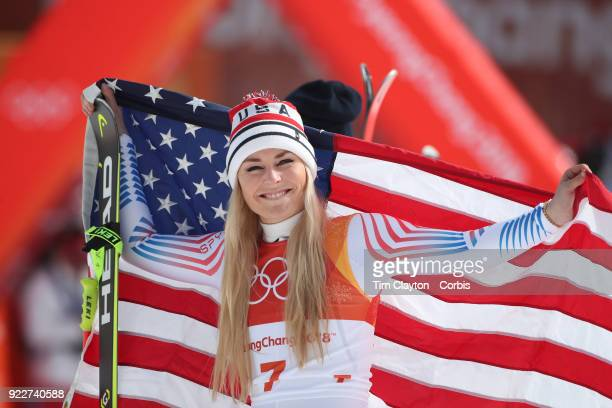 Bronze medal winner Lindsey Vonn at the presentation during the Alpine Skiing Ladies' Downhill race at Jeongseon Alpine Centre on February 21 2018 in...