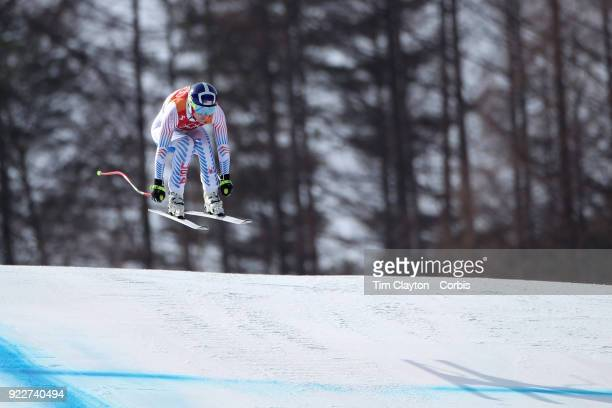Bronze medal winner Lindsey Vonn from the United States in action during the Alpine Skiing Ladies' Downhill race at Jeongseon Alpine Centre on...