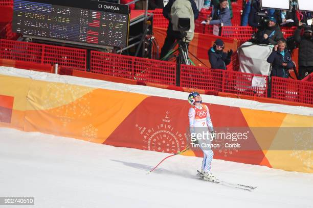 Bronze medal winner Lindsey Vonn from the United States reacts after her run during the Alpine Skiing Ladies' Downhill race at Jeongseon Alpine...