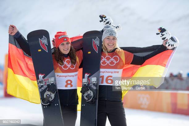 Bronze medal winner Ramona Theresia Hofmeister from Germany and silver medal winner Selina Joerg from Germany at the presentations during the...