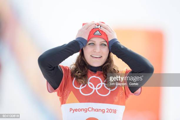 Bronze medal winner Ramona Theresia Hofmeister from Germany on the podium during the Ladies' Snowboard Parallel Giant Slalom competition at Phoenix...