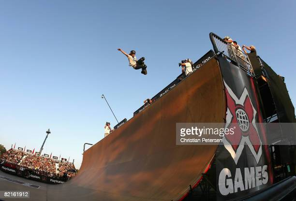 Bronze medal winner Shaun White competes in the men's Skateboard Vert during the summer X Games 14 at Home Depot Center on August 2 2008 in Carson...