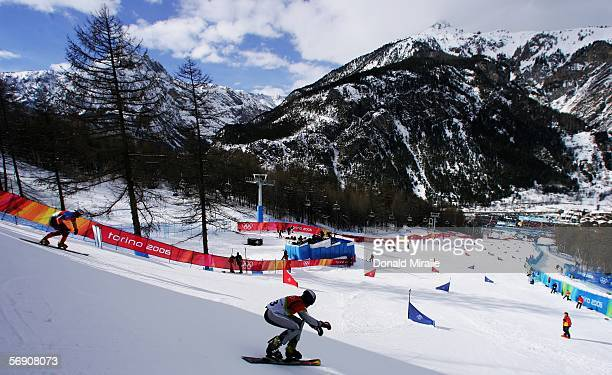 Bronze Medal winner Siegfried Grabner of Austria competes in the Mens Snowboard Parallel Giant Slalom Finals on Day 12 of the 2006 Turin Winter...