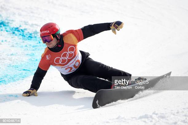 Bronze medal winner Zan Kosir of Slovenia in action during the Men's Snowboard Parallel Giant Slalom competition at Phoenix Snow Park on February 24...