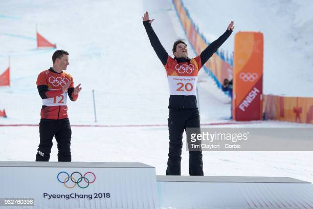 Bronze medal winner Zan Kosir of Slovenia on the podium after the final of the Men's Snowboard Parallel Giant Slalom competition at Phoenix Snow Park...