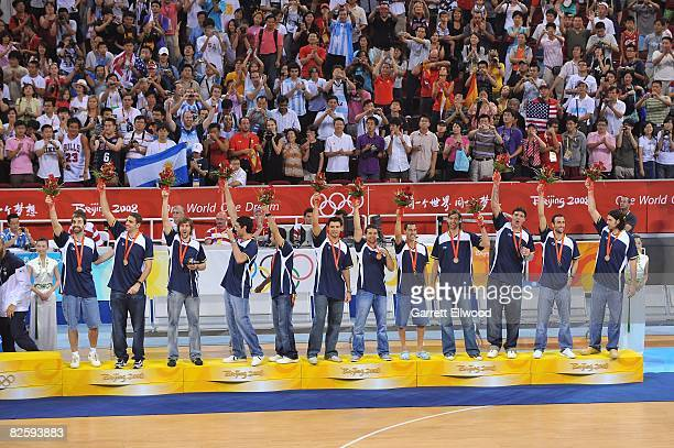 Bronze medal winners Argentina stand on the podium during the medal ceremony for the men's basketball at the 2008 Beijing Summer Olympics at the...