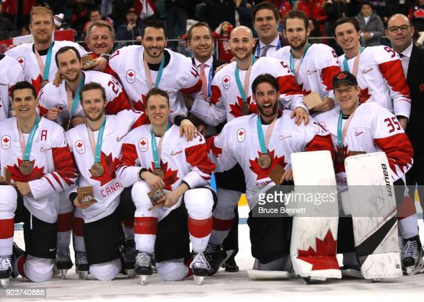 Bronze medal winners Canada celebrate after defeating Czech Republic 64 during the Men's Bronze Medal Game on day fifteen of the PyeongChang 2018...