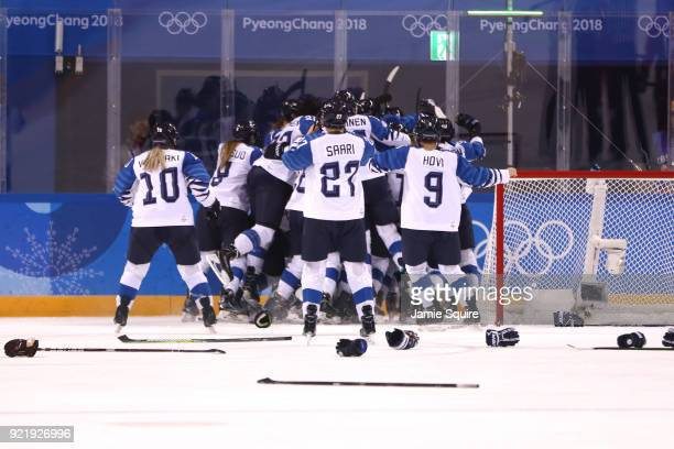 Bronze medal winners Finland celebrate after defeating Olympic Athletes from Russia 32 during the Women's Ice Hockey Bronze Medal game on day twelve...
