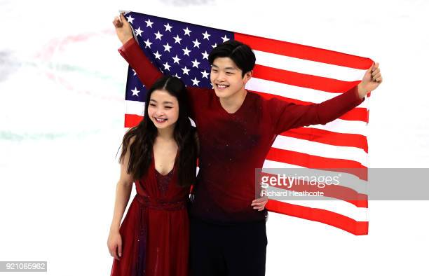 Bronze medal winners Maia Shibutani and Alex Shibutani of the United States celebrate during the victory ceremony for the Figure Skating Ice Dance...
