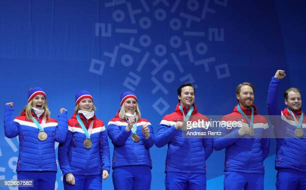 Bronze medal winners Team Norway celebrate during the medal ceremony for the Alpine Team Event on day fifteen of the PyeongChang 2018 Winter Olympic...