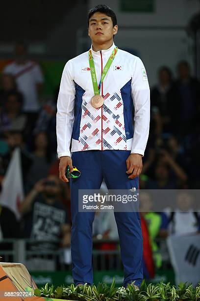 Bronze medalist A Donghan Gwak of Korea standa on the podium during the medal ceremony for the Men's 90kg Judo on Day 5 of the Rio 2016 Olympic Games...