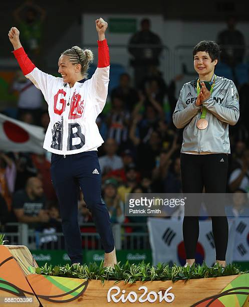 Bronze medalist A Sally Conway of Great Britain and bronze medalist B Laura Vargas Koch of Germany stand on the podium during the medal ceremeny for...