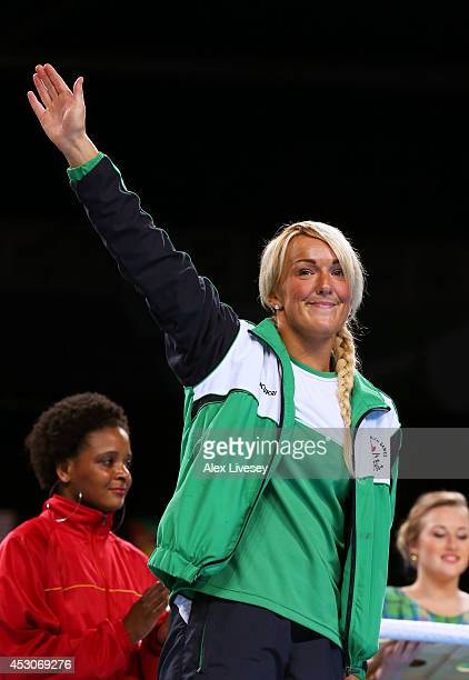 Bronze medalist Alanna AudleyMurphy of Northern Ireland celebrates during the medal ceremony for the Women's Light Final at SSE Hydro during day ten...