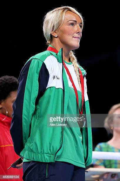 Bronze medalist Alanna AudleyMurphy of Northern Ireland looks on during the medal ceremony for the Women's Light Final at SSE Hydro during day ten of...