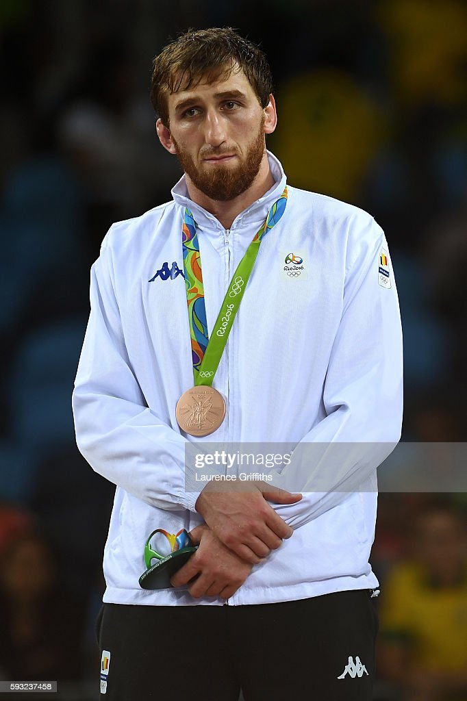 Bronze medalist Albert Saritov of Romania stands on the podium during the medal ceremony for the Men's Freestyle 97kg on Day 16 of the Rio 2016 Olympic Games at Carioca Arena 2 on August 21, 2016 in Rio de Janeiro, Brazil.