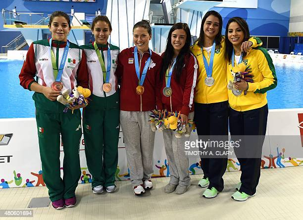 Bronze medalist Alejandra Orozco and Paola Espinosa of Mexico Gold medalist Roseline Filion and Meaghan Benfeito of Canada and Silver medalist...