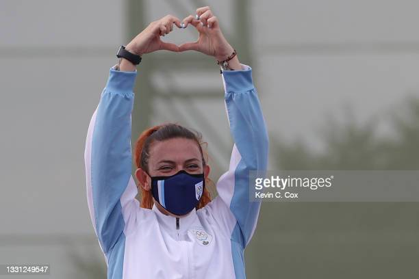 Bronze Medalist Alessandra Perilli of Team San Marino on the podium following the Trap Women's Finals on day six of the Tokyo 2020 Olympic Games at...