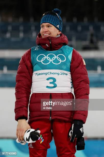 Bronze medalist Alexander Bolshunov of Olympic Athlete from Russia poses during the victory ceremony for the CrossCountry Men's Sprint Classic Final...