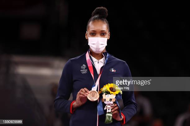 Bronze medalist Althea Laurin of Team France poses with the bronze medal for the Women's +67kg Taekwondo on day four of the Tokyo 2020 Olympic Games...