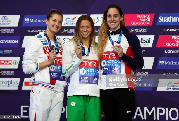 Bronze Medalist Alys Thomas of Great Britain Silver Medalist Svetlana Chimrova of Russia and Gold Medalist Boglarka Kapas of Hungary pose with their...