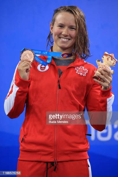 Bronze medalist Alyson Patricia Ackman of Canada in the podium of Women's 100m Breaststroke Final A at Aquatics Center of Villa Deportiva Nacional on...