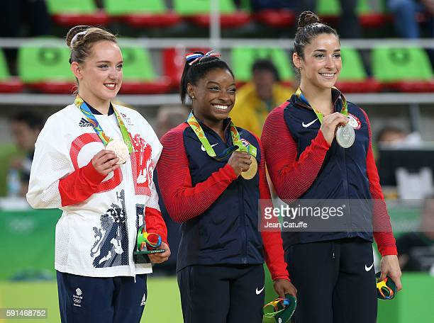 Bronze medalist Amy Tinkler of Great Britain gold medalist Simone Biles of USA silver medalist Alexandra Raisman of USA pose during the medal...