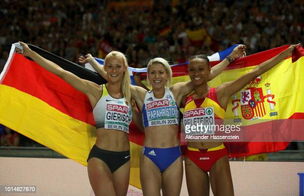 Bronze medalist Ana Peleteiro of Spain Silver medalist Kristin Gierisch of Germany and Gold medalist Paraskevi Papahristou of Greece celebrate after...