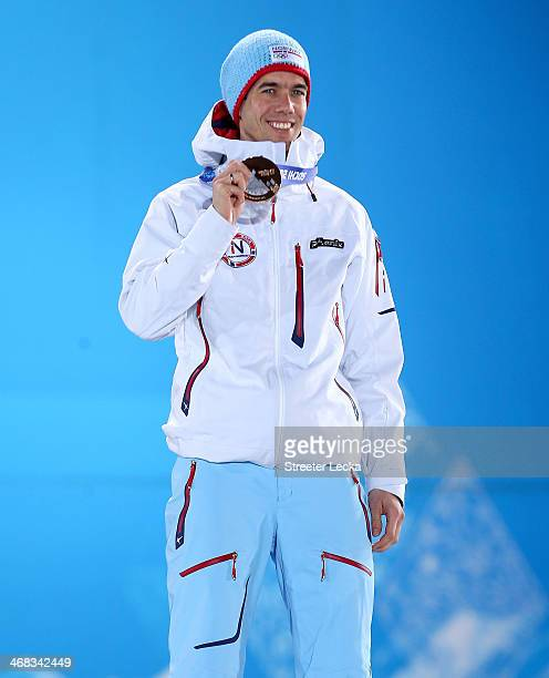 Bronze medalist Anders Bardal of Norway celebrates during the medal ceremony for the Men's Ski Jump Normal Hill Individual Final on day 3 of the...