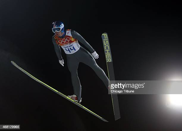 Bronze medalist Anders Bardal of Norway competes in the men's normal hill competition at the RusSki Gorki Jumping Center during the Winter Olympics...