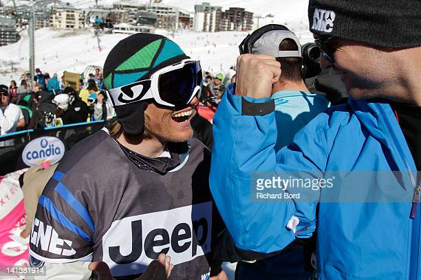 Bronze medalist Andreas Hatveit from Norway celebrates after the Men Ski Slopestyle Final of the Winter XGames Europe on March 14 2012 in Tignes...