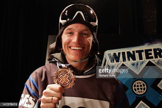 Bronze medalist Andreas Hatveit of Norway poses after the Men's Ski Slopestyle Final press conference of the Winter XGames Europe on March 15 2012 in...