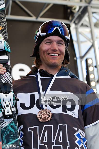 Bronze medalist Andreas Hatveit of Norway stands on the podium during the medal ceremony for the Men's Ski Slopestyle Final of the Winter XGames...