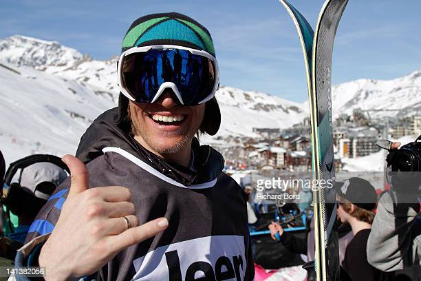 Bronze medalist Andreas Hatveit poses after the Men Ski Slopestyle Final of the Winter XGames Europe on March 14 2012 in Tignes France