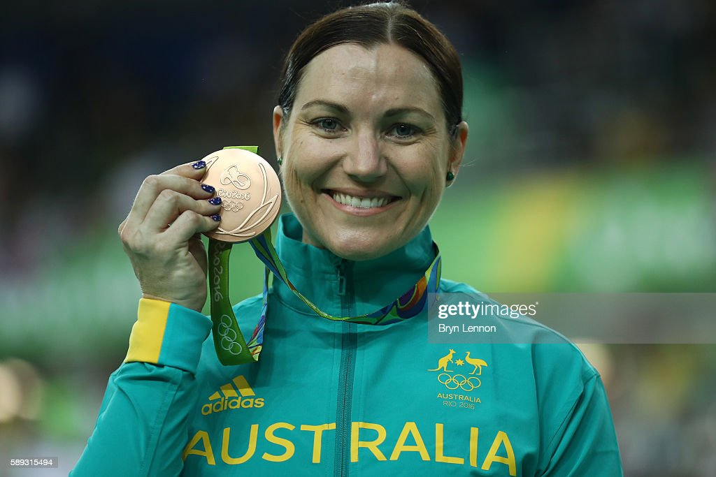 Bronze medalist Anna Meares of Australia celebrates on the podium at the medal ceremony for the Women's Keirin on Day 8 of the Rio 2016 Olympic Games at the Rio Olympic Velodrome on August 13, 2016 in Rio de Janeiro, Brazil.