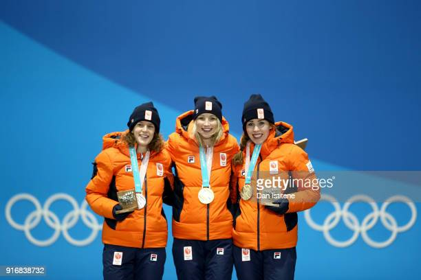 Bronze medalist Antoinette de Jong of the Netherlands gold medallist Carlijn Achtereekte of the Netherlands and silver medalist Ireen Wust of the...