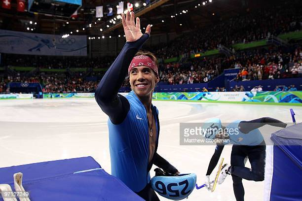 Bronze medalist Apolo Anton Ohno of the United States celebrates after the Men's 5000m Relay Short Track Speed Skating Final on day 15 of the 2010...