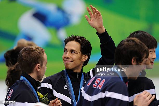 Bronze medalist Apolo Anton Ohno of the United States celebrates with team mates JR Celski Simon Cho Travis Jayner and Jordan Malone after the Men's...